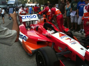 Citgo car being towed to the starting line