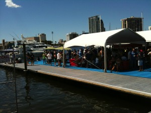 Floating dock watching the St. Pete Grand Prix